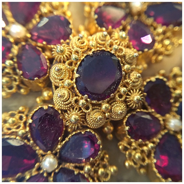 Detail from an exceptional antique cannetille gold and garnet parure. At Keyamour.