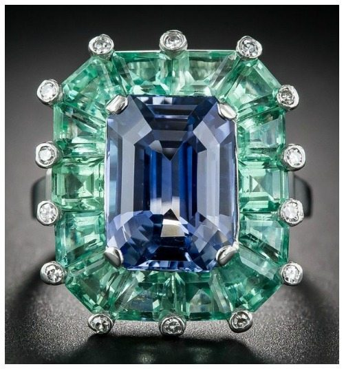 Front view of a magnificent sapphire and green beryl cocktail ring at Lang Antiques. Art Deco, circa 1930's-40's.