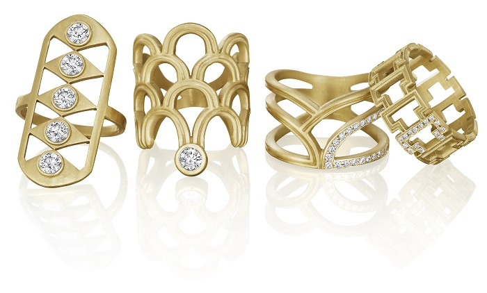 Gold and diamond rings by Doryn Wallach.