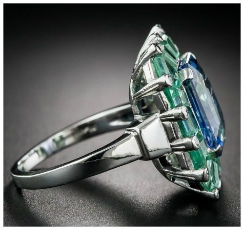 Side view of a magnificent sapphire and green beryl cocktail ring at Lang Antiques. Art Deco, circa 1930's-40's.