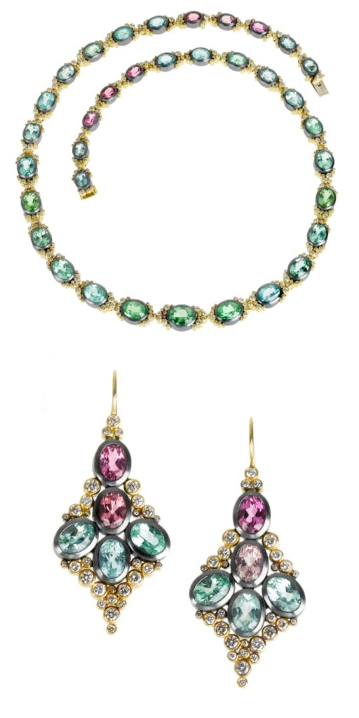 The Todd Reed tourmaline and diamond earrings and matching necklace in gold.