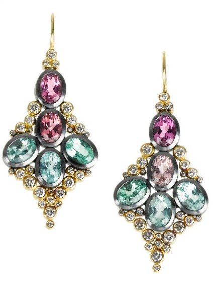 Todd Reed tourmaline and diamond earrings in gold. One-of-a-kind, with a killer matching necklace.
