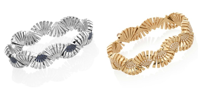 Two bracelets from the Miseno Ventaglio collection, in rose gold with diamonds or white gold with diamonds and sapphires.