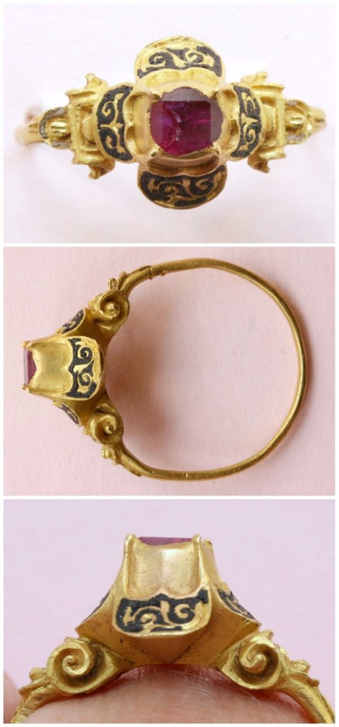 A 16th century ring with a high quatrefoil bezel featuring a table-cut ruby set in high-karat gold.