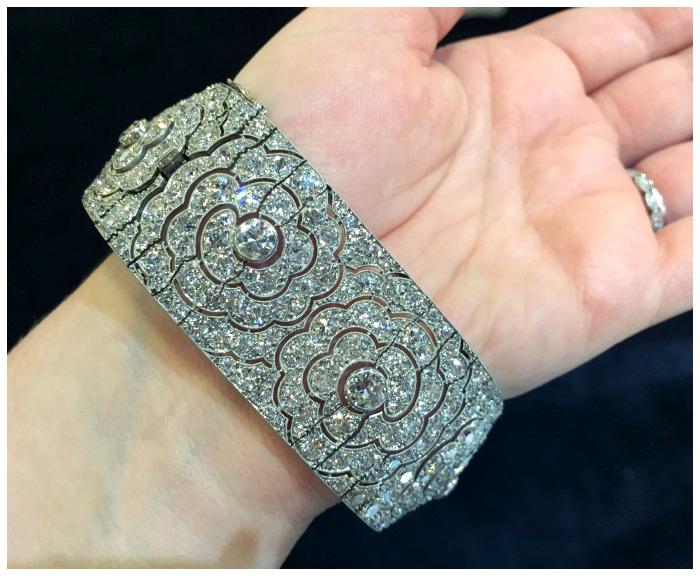 A beautiful antique Art Deco diamond bracelet from Hancocks.