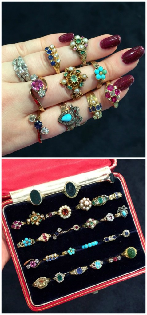 A beautiful selection of antique diamond and gemstone rings at Roy Rover Antiques.