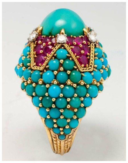 A fantastic retro cocktail ring by Marchak Paris, circa 1960. Ruby and turquoise; bombe style.