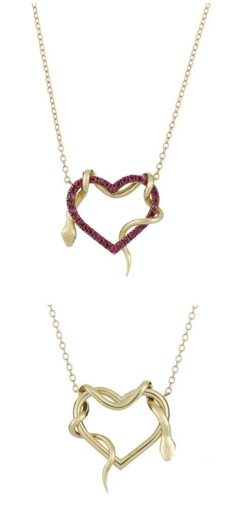 A heart and snake pendant necklace by Finn. In gold, with rubies on the heart and diamond eyes on the snake. Front and back views.