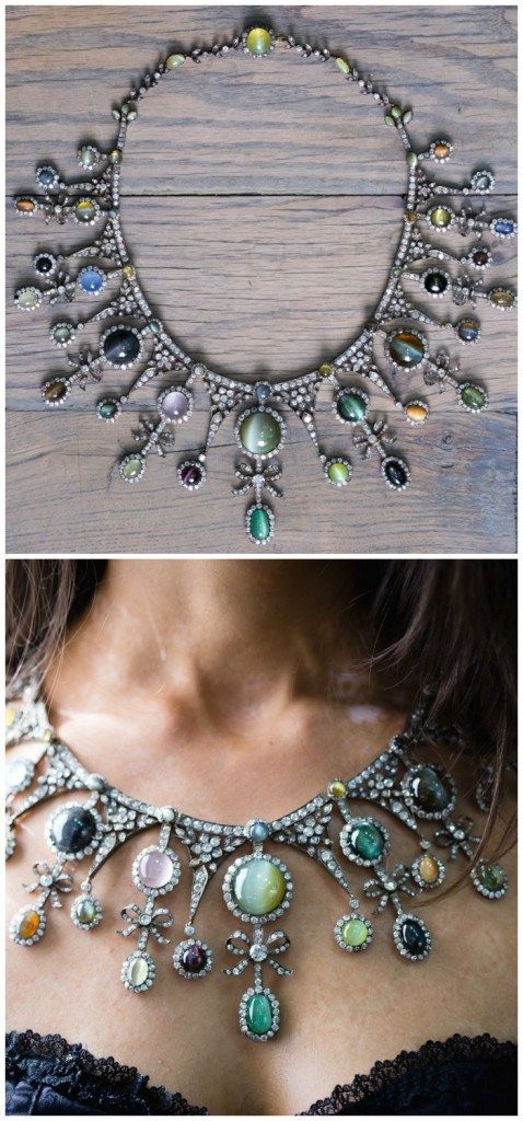 A magnificent antique cat's eye and diamond necklace. Featuring sapphires, chrysoberyl, emeralds, and alexandrite. At Jogani.