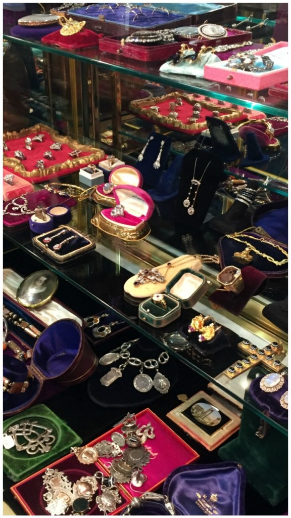 A peek into the great Lenore Dailey's jewelry cases at the Miami Beach Antiques Show.