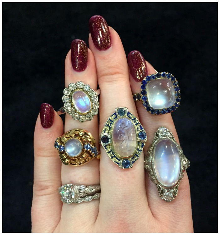 An assortment of antique and vintage moonstone rings from Cnythia Findlay antiques.