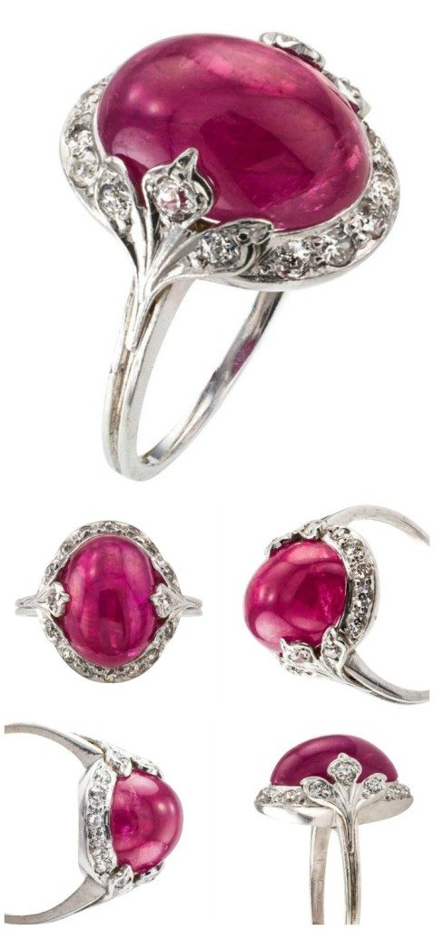 An elegant cabochon ruby and diamond ring from the Art Deco era.