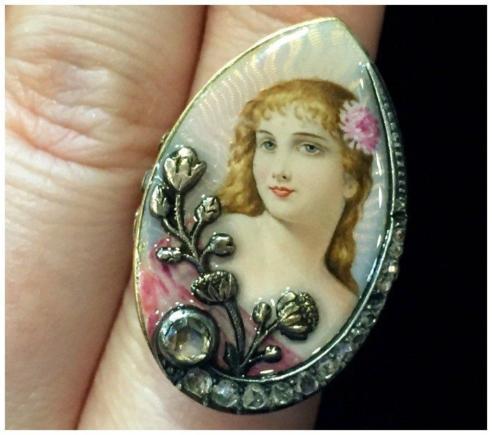 An exceptionally lovely antique portrait ring with diamonds and enamel. At Maryanntiques.