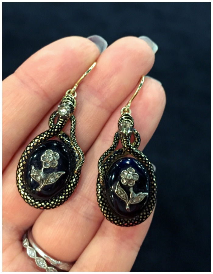 An incredible pair of antique Victorian earrings from Lenore Dailey. Just look at those amazing enamel snakes!