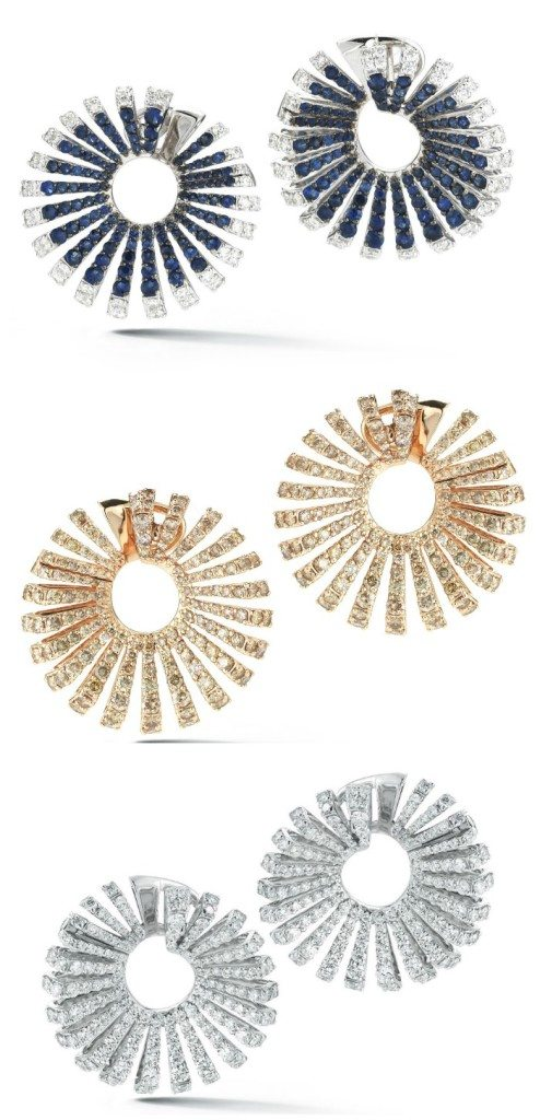 Earrings from the Miseno Ventaglio collection with diamonds or diamonds and sapphires in white or rose gold.