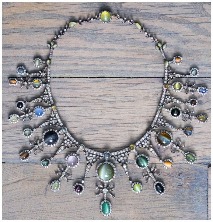 Jogani's antique cat's eye and diamond necklace. Featuring sapphires, chrysoberyl, emeralds, and alexandrite.