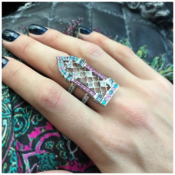 Maria Kodavi's Venetian Window ring in action. With Paraiba tourmalines, sapphires, topaz, and diamonds in 18kt gold.