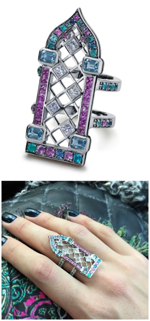 Maria Kodavi's beautiful Venetian Window ring, with Paraiba tourmalines, sapphires, topaz, and diamonds in 18kt gold.