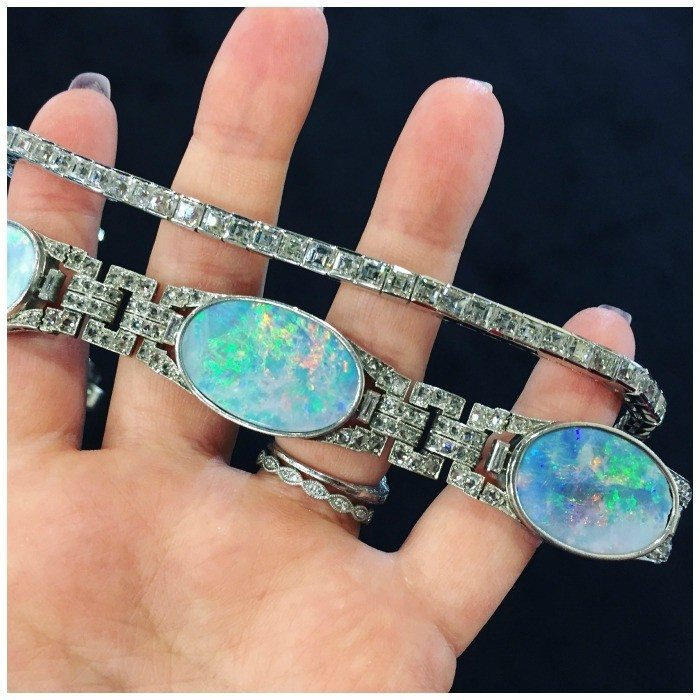 Two opal and diamond bracelets from Geller & Company.