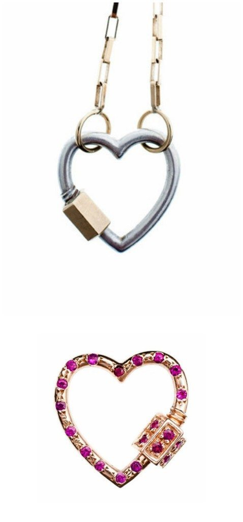 A necklace featuring a Marla Aaron heart lock - which is also available with gemstones!