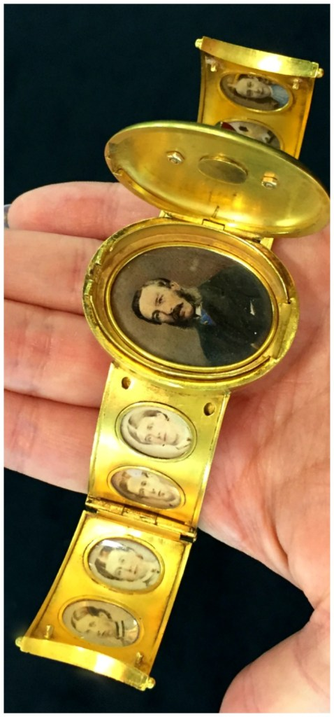 An incredible Victorian portrait bracelet with nine individual portraits. This was given to a wife from her husband for their 26th wedding anniversary in 1864.