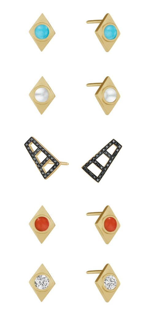 Earrings from the new Doryn Wallach jewelry collection. Gold with diamonds, pearls, or gemstones.