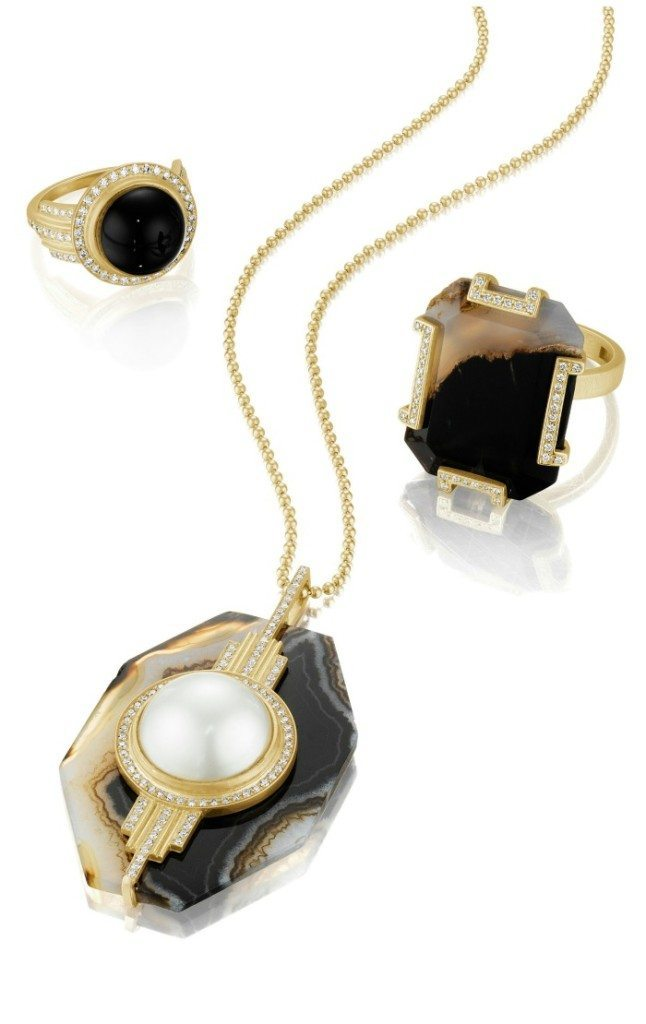 Jewels by Doryn Wallach - all yellow gold with agate, onyx, pearl, and white diamonds.