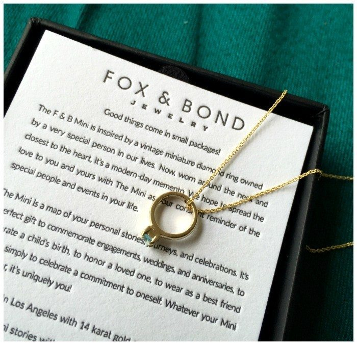 My Fox and Bond mini is in 14k yellow gold with an aquamarine, for my birthstone. I love it.