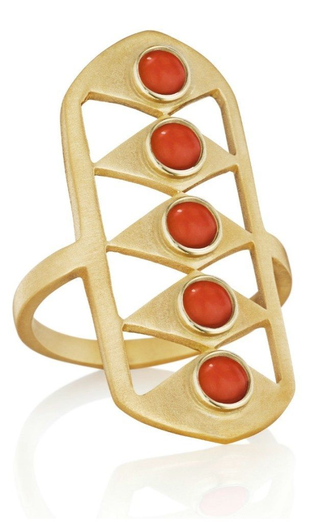 The Doryn Wallach Gladiator ring in gold with red coral.