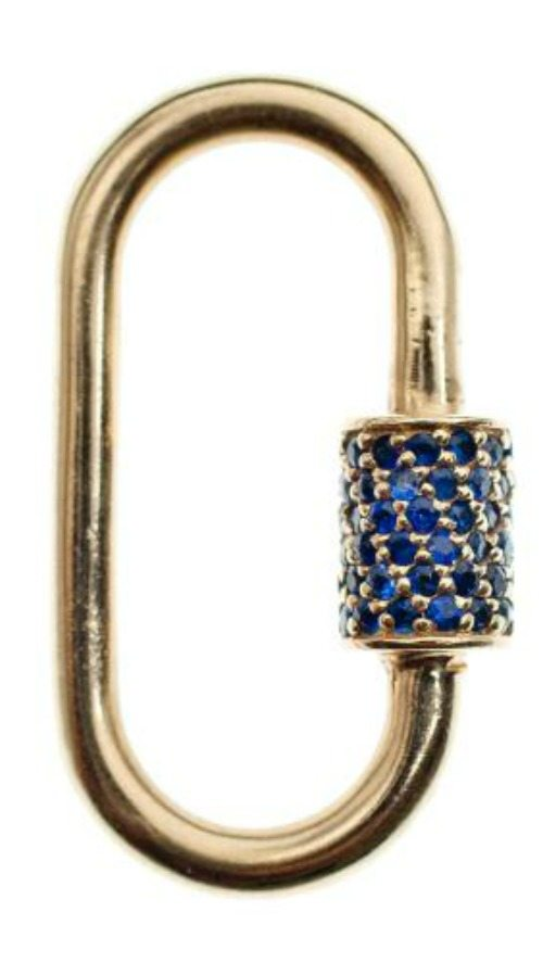 The Marla Aaron lock in yellow gold with blue sapphires. Perfect on a necklace, bracelet, or in any other way you can think to wear it.