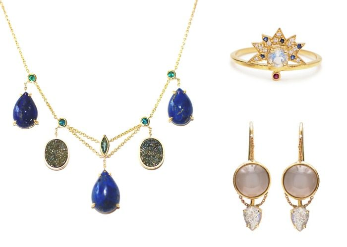 A beautiful necklace, earrings, and ring by the wonderful Unhada jewelry