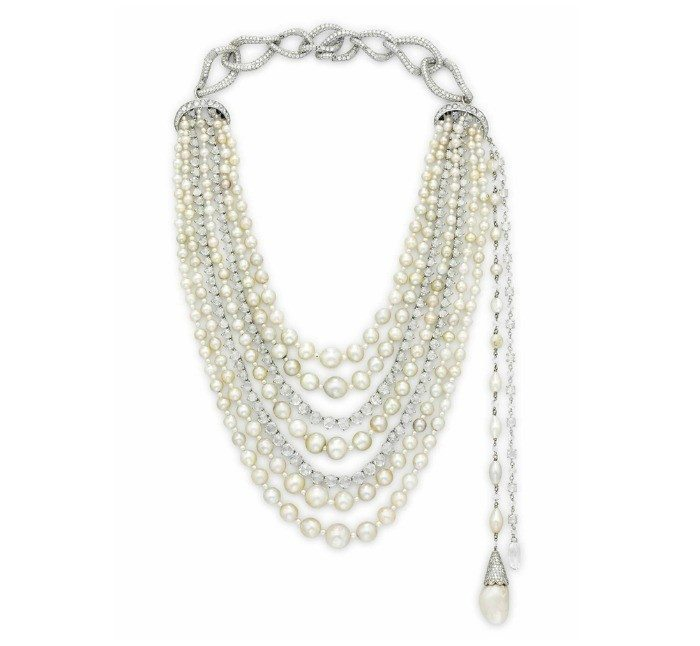 A multi-strand natural pearl and diamond necklace. So glam!