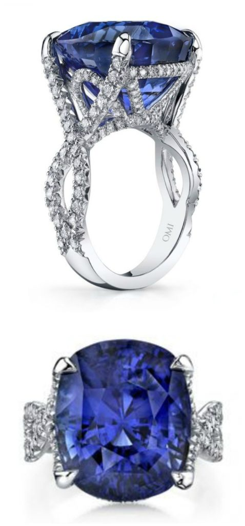 An Omi Prive sapphire ring with pave diamonds. That center stone is 20.03 carats!