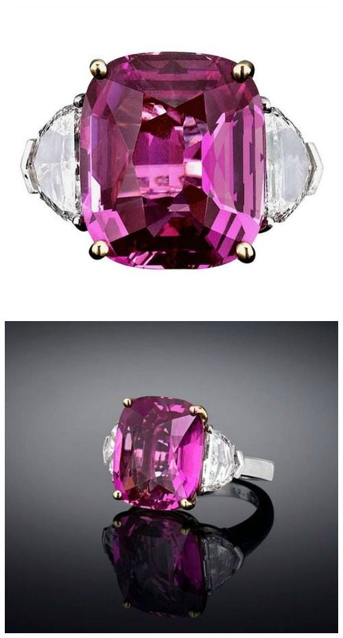 An incredible sapphire ring featuring a 16.37-carat Pink Ceylon sapphire center stone. At M.S. Rau.