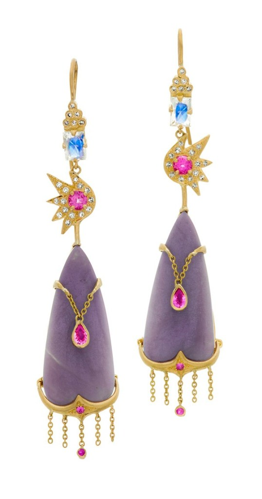 An utterly stunning pair of earrings by Unhada jewelry. Those colored stones are so amazing!