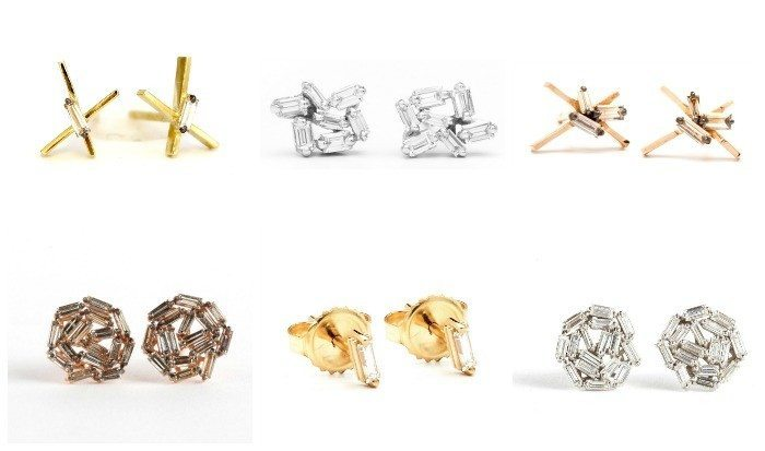 Diamond stud earrings in white, rose, and yellow gold. By Suzanne Kalan.