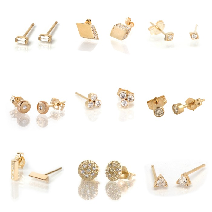 Diamond studs in yellow gold from Zoe Chicco