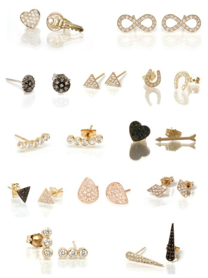 Edgy, stylish diamond stud earrings by Zoe Chicco.