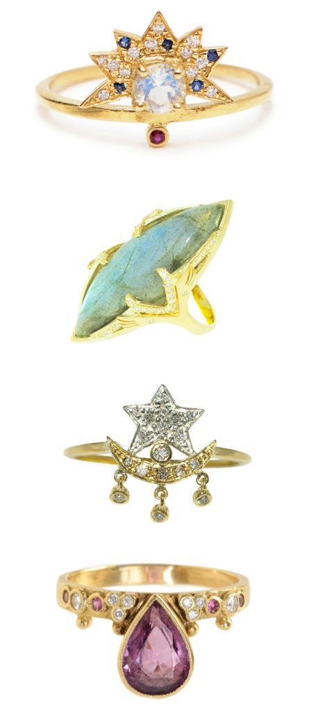 Four diamond and gemstone rings by Unhada jewelry