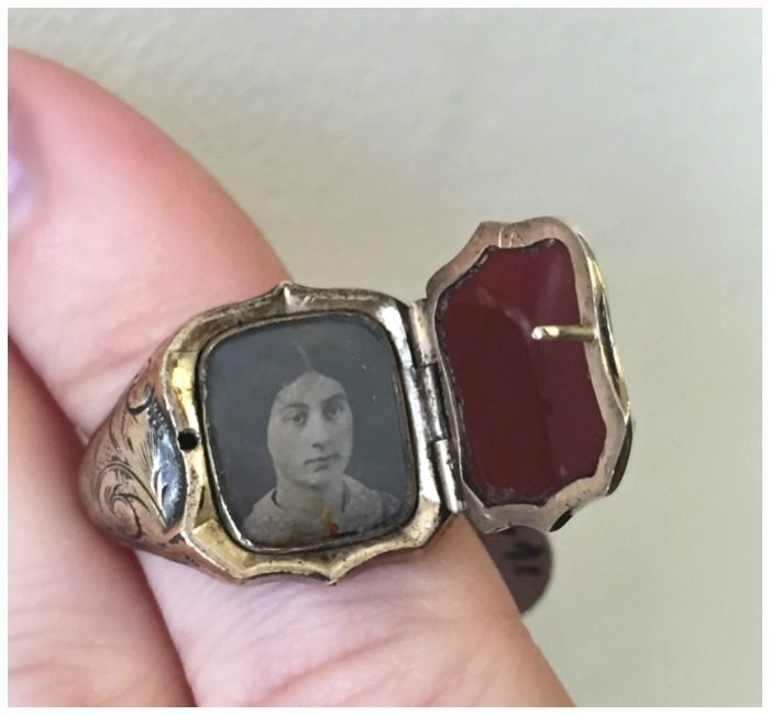 An incredible antique mourning ring with a portrait locket. From A Brandt and Son.