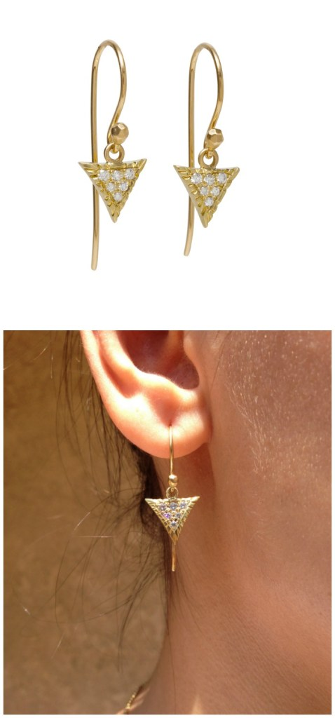 Gold and diamond Scale earrings from Lisa Kim's newest collection of jewelry, The Seabeast.