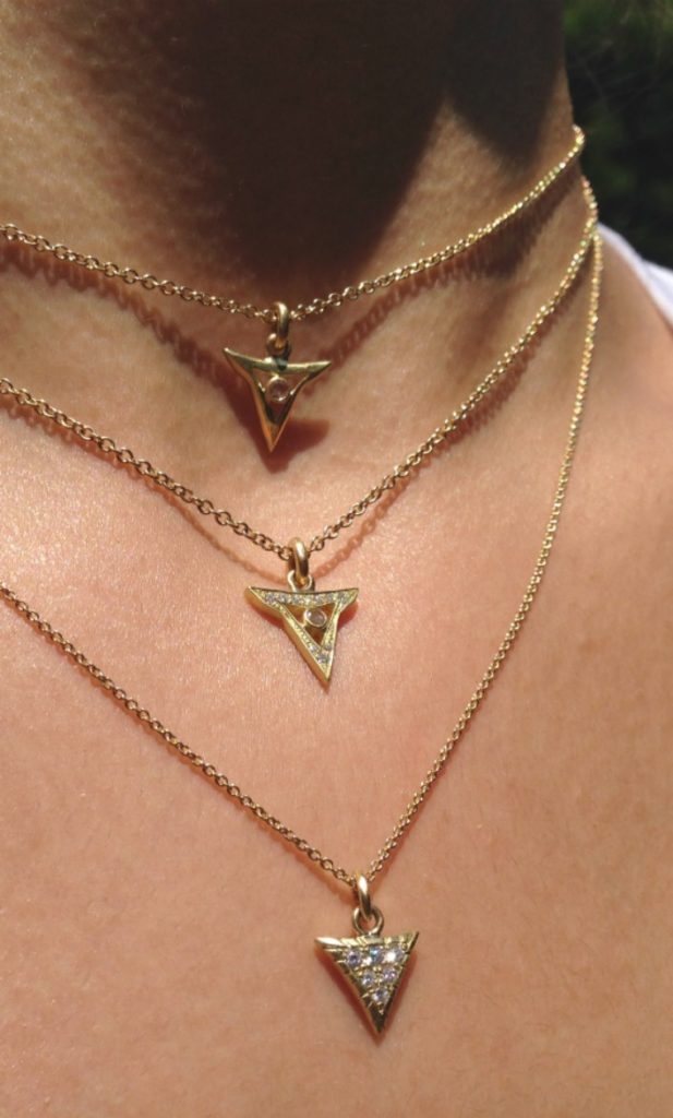 Gold and diamond necklaces from Lisa Kim's newest collection. The Seabeast. Perfect for layering.
