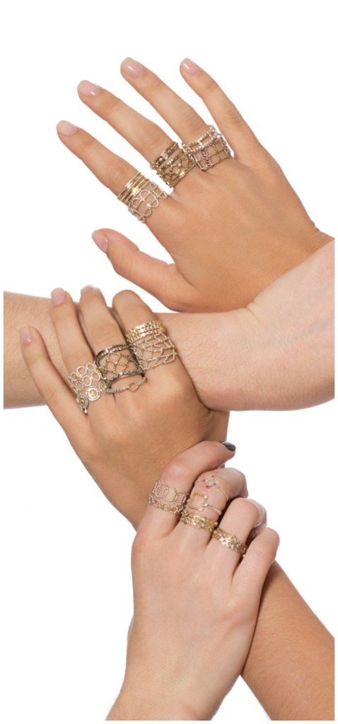 Handmade mixed metal stacking rings from Sophie Ratner jewelry.