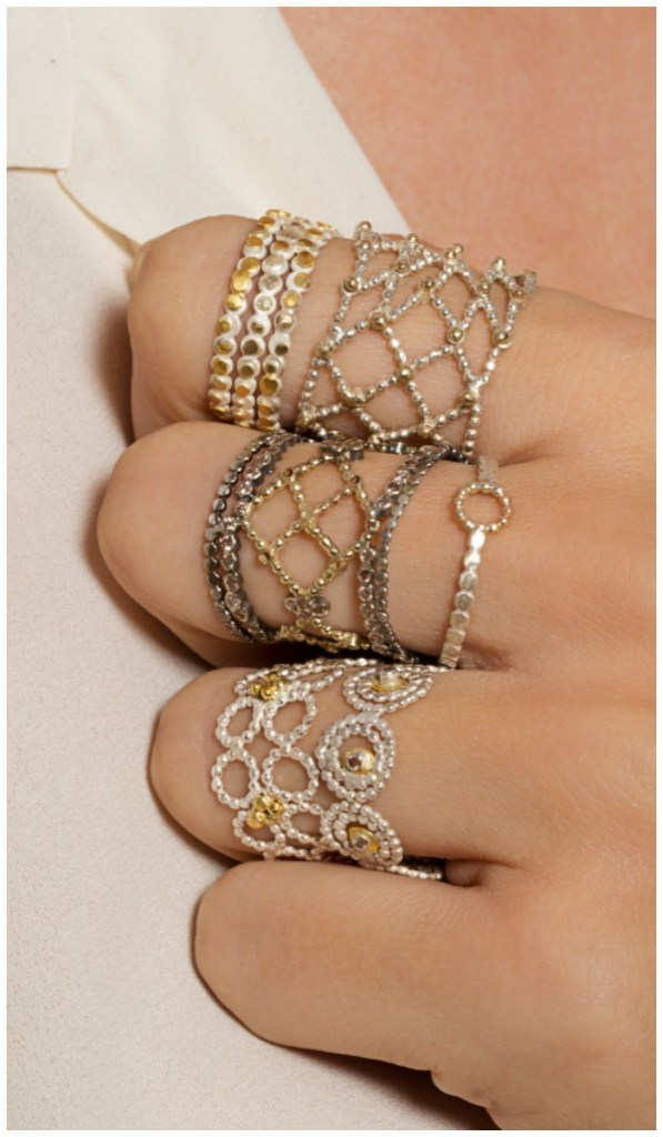 Mixed metal stacking rings from Sophie Ratner jewelry.