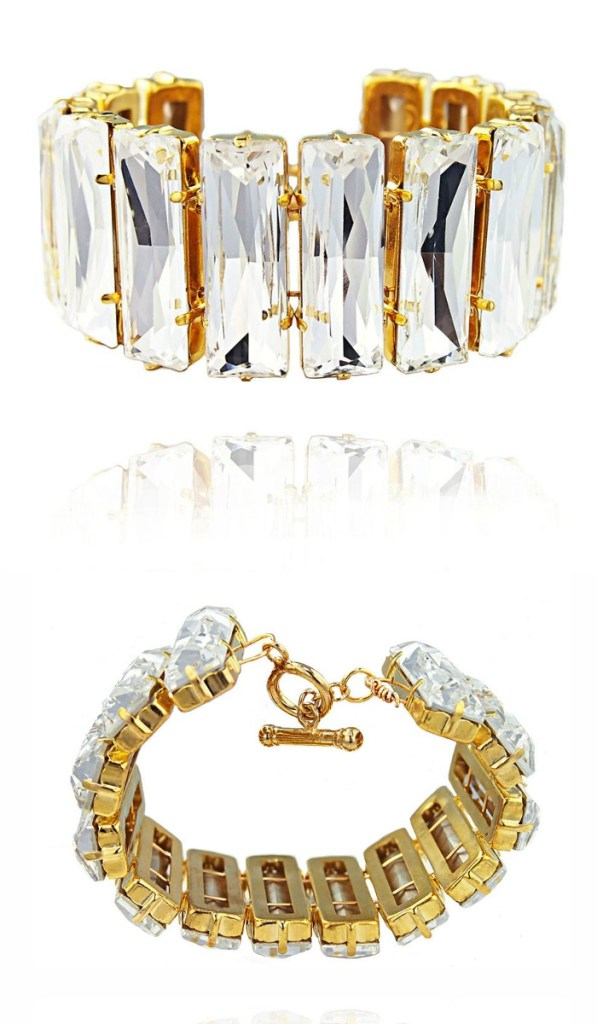 The JY Jewels Lyra bracelet in bright white crystal and gold.
