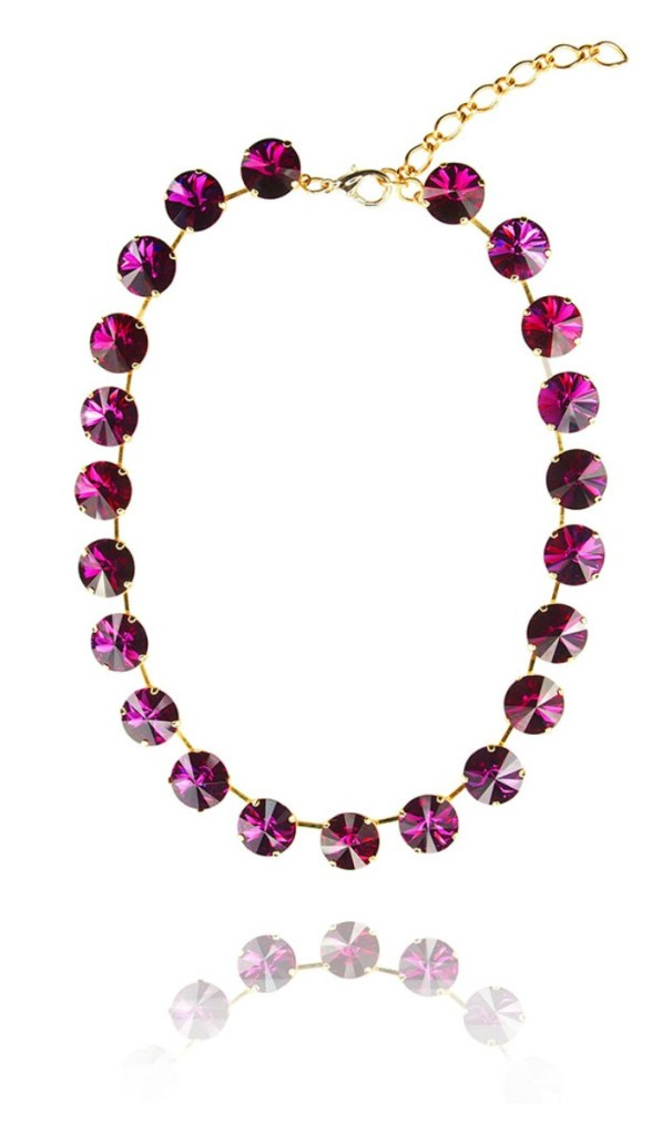 The JY Jewels Sunn necklace in cerise crystal.