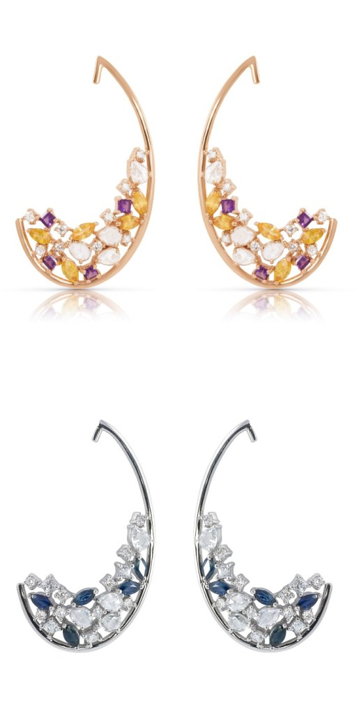 The Kalena earrings by Avya jewelry, in yellow gold with yellow sapphires, amethyst and diamonds or in white gold with blue sapphire and diamonds.