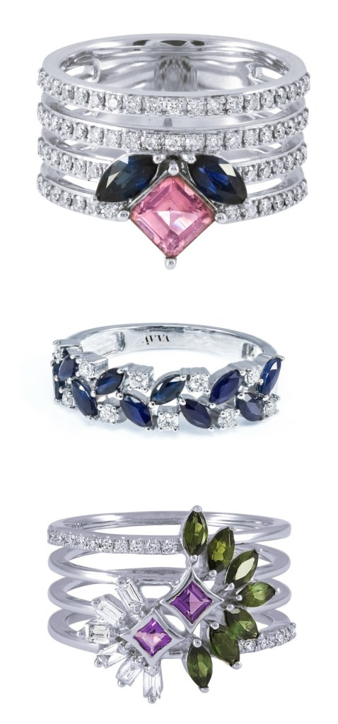 Three fabulous diamond and gemstone rings in white gold by Ayva jewelry.