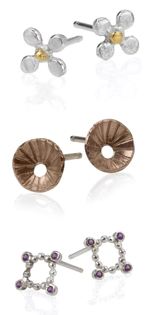 Three pairs of handmade mixed-metal earrings by Sophie Ratner jewelry.
