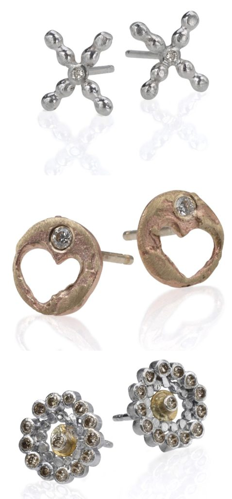 Three pairs of handmade mixed-metal stud earrings by Sophie Ratner jewelry.